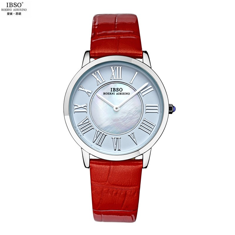 2015 Selling Brand IBSO BOERNI AIBISINO Unisex Ultra Thin Round Dial Analog Wrist Watch with Waterproof & Leather Band 2202 natate ibso women quartz watch crystal decorated large round dial analog wrist watch with waterproof woman leather band s3819