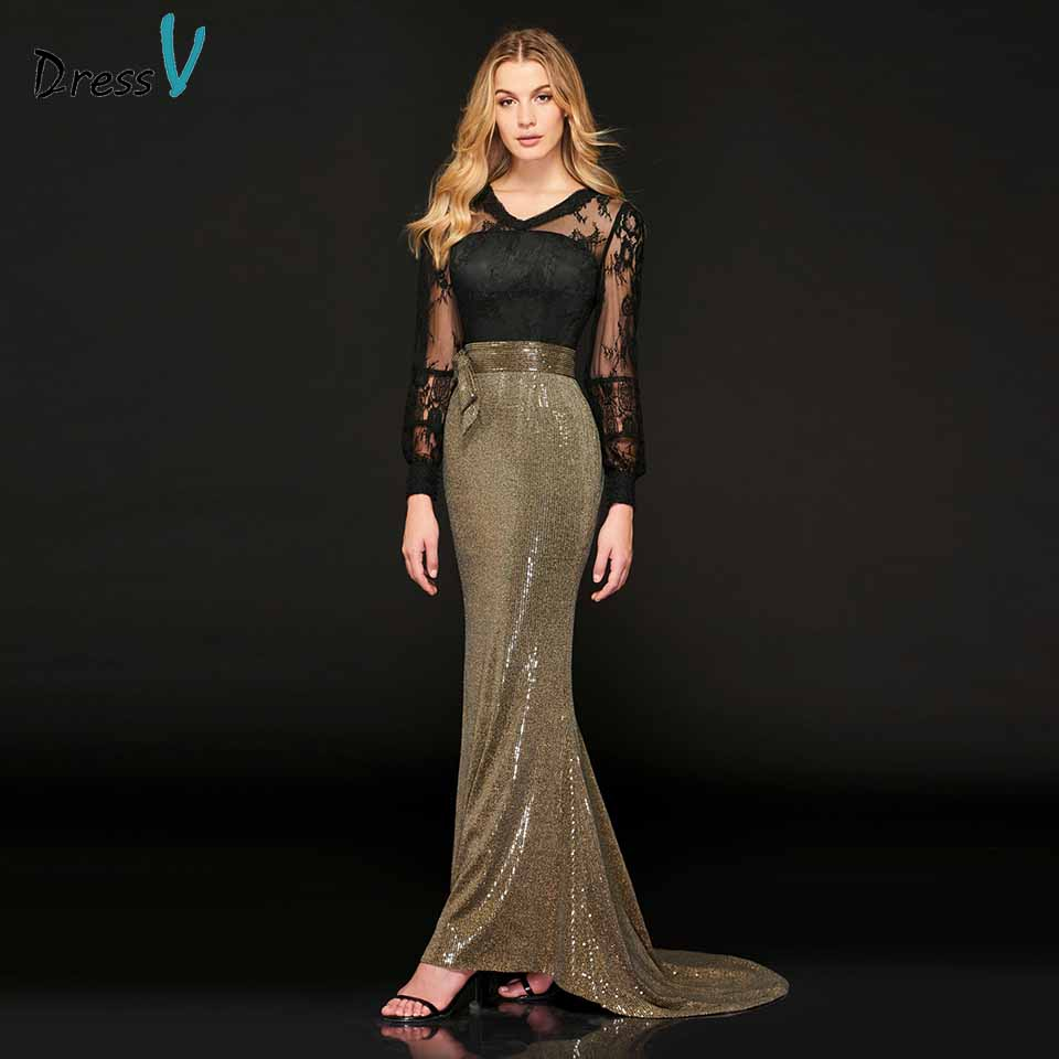 Dressv   evening     dress   v neck long sleeves button lace mermaid sequins floor-length wedding party formal   dress     evening     dresses