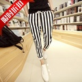 Free shipping !!! 2015 Summer black and white stripe 100% cotton men's 9 Points casual slim pants fashion trousers / 28-34 M-XXL