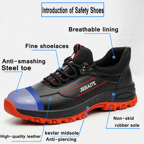 Men Work & Safety Shoes Steel Toe Caps Anti-smashing Anti-puncture Construction Work Boots Non-slip Breathable Security shoes Karachi