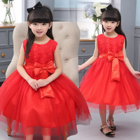 2016 Summer Retail Baby Girl Lace Princess Dress With Bow Pageant Dresses For Little Girls Flower