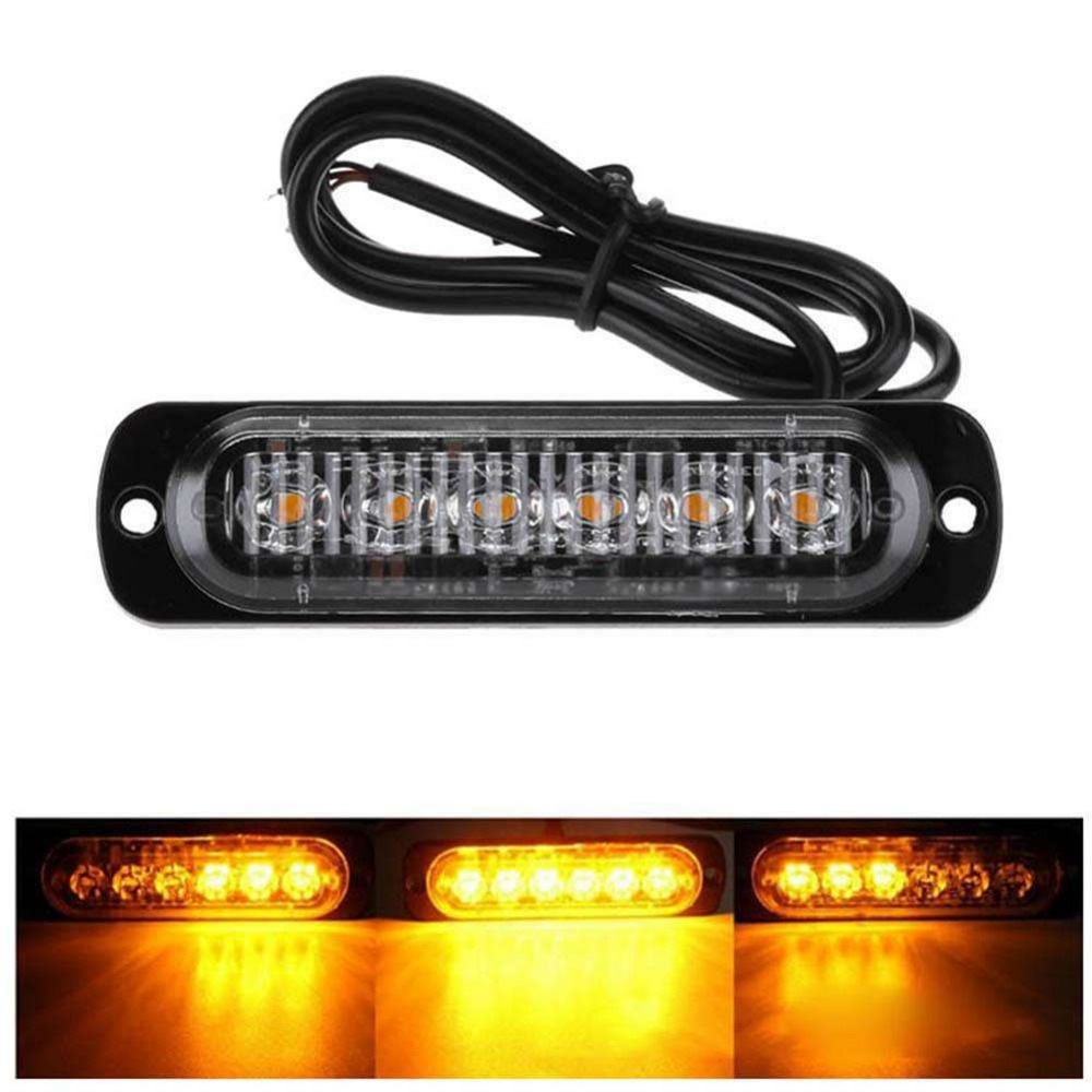 6 LED Strobe Warning Light Strobe Grill Flashing Breakdown Emergency Light Car Truck Beacon Lamp Amber Traffic Light
