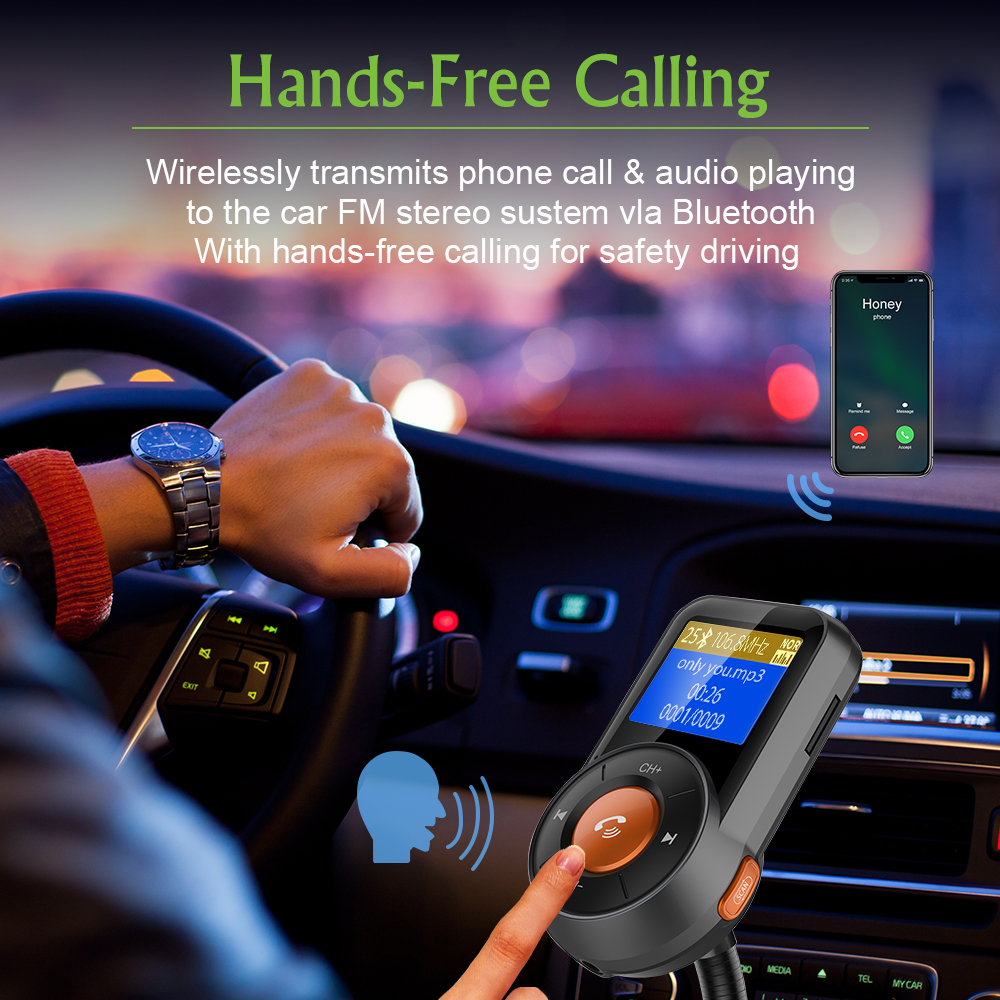 Image 2 - Car FM Transmitter Bluetooth Hands Free Dual USB QC3.0 Fast Charger LCD Transmissor Modulator Transmetteur Voiture Kit Radio MP3-in FM Transmitters from Automobiles & Motorcycles