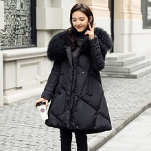 TREND-Setter 2017 Winter Wool Fur Collar Jacket and Coat For Women Black A-Line Cotton Coat