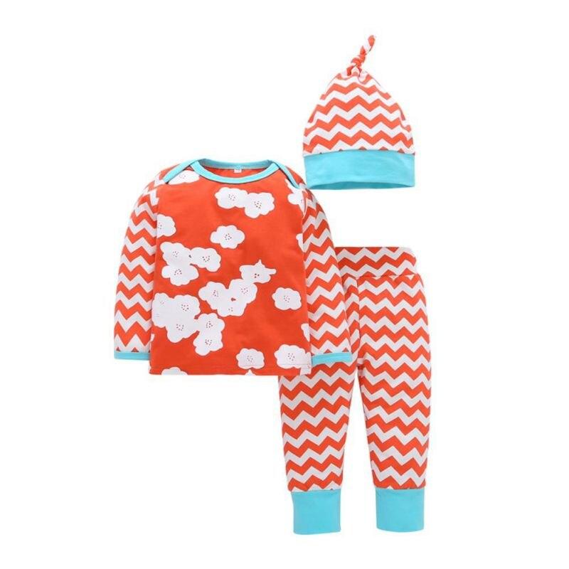 3 PCS Set Printed Cotton Full Sleeve T-shirts Tops + Pants + Hat Clothing Set Newborn Baby Boy Girl Hot Clothes