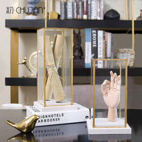 Nordic Creative vintage Metal glass abstract statue home decor crafts room decoration objects study office Robot hand figurines