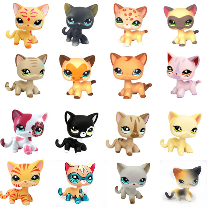 LPS צעצוע חנות שחור קצר שיער חתול תחש קוקר ספנייל LPS חיות מחמד אוסף Stand פעולה איור לילדים הטוב ביותר מתנות