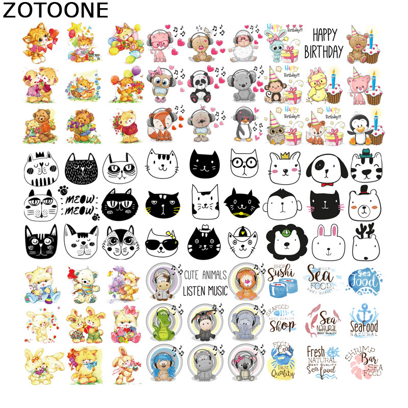 ZOTOONE Iron on Letters Heat Transfer Cartoon Patches Transfers for Childrens Clothes Applique Diy Patch Cute E