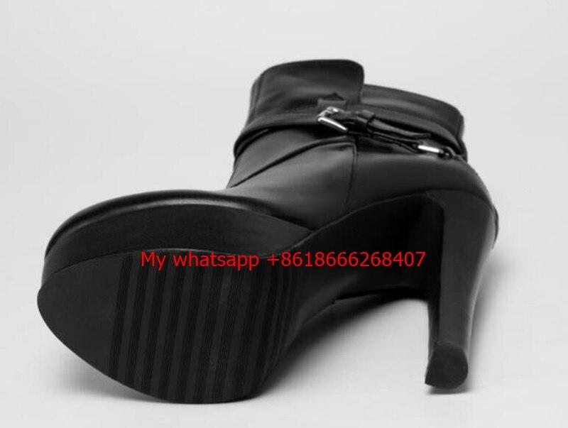 Femmes De Cheville Hiver Noir Inside fur Bout Pointu En À Cuir Chaussettes Hauts 2018 Plate Mince Leather Inside Chaussures Femme Talons Bottes forme qpGMVzSU