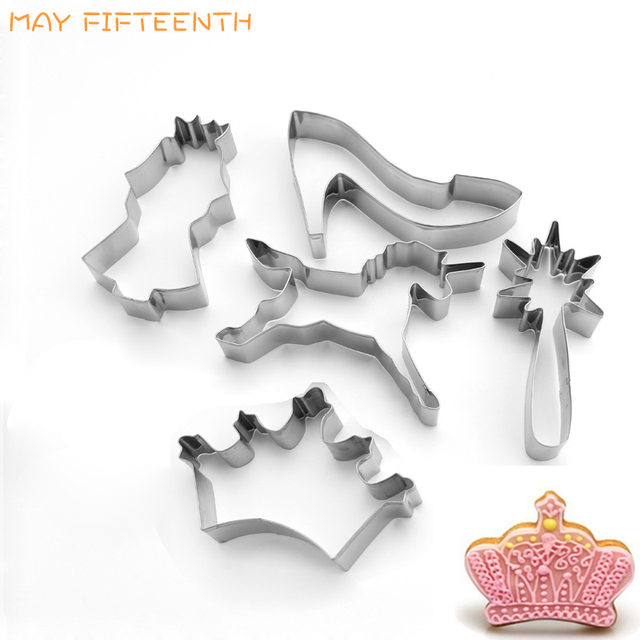May Fifth Stainless Steel Princess Cookie Cutters For Baking Cake Cutter Fondant Crown Shape Biscuit Mold Pastry Tools 021