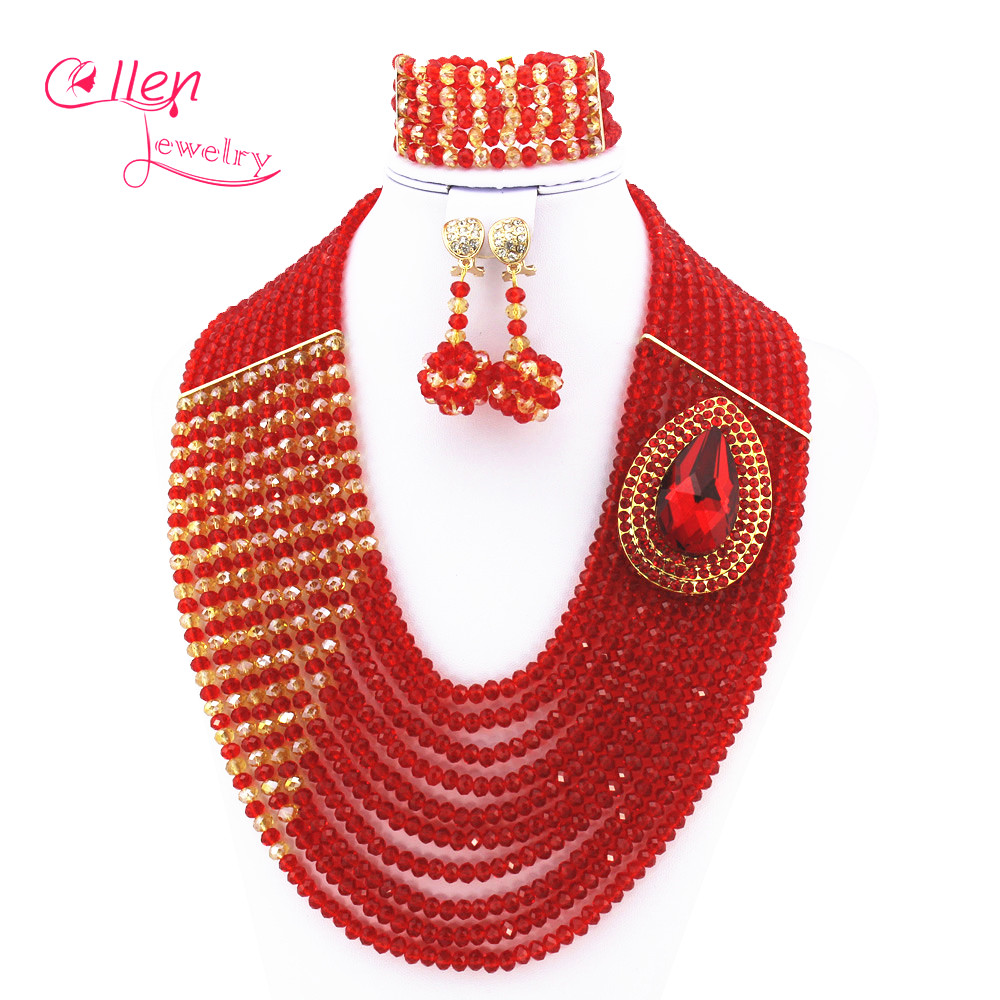Fashion Red African nigerian Wedding bridal beads Jewelry Set African beads Jewelry Set African beaded necklace sets E1035 african symbolism