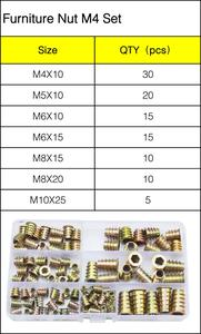 Image 3 - M4 M5 M6 M8 M10 Furniture Insert Nut Alloy Steel Hex Socket Head Drive Screw For Wood Metric Thread Assortment Tool Kit Set
