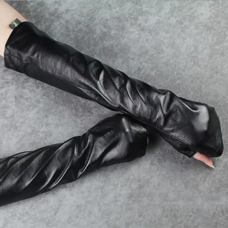 LANMREM 2020 New Fashion Spring Black Female Ladies Gloves Reveal Finger Thin Type PU Leather Arm Warmers YE76001