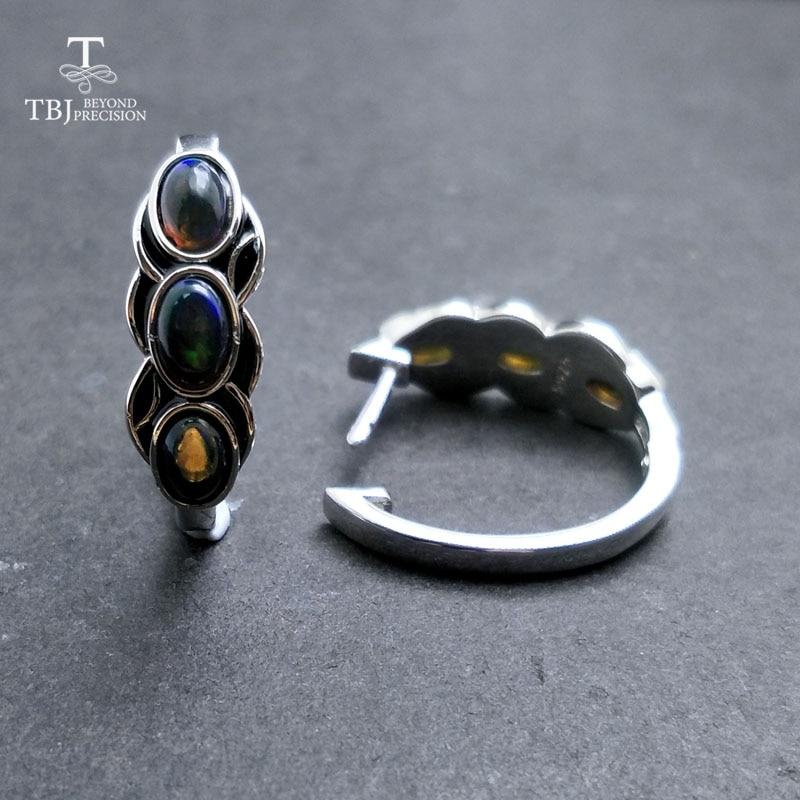 TBJ, di stile dell'annata di buona chiusura orecchino con il nero naturale opal pietra preziosa in argento sterling 925 di disegno per le donne di tutti i giorni di usura regalo-in Orecchini da Gioielli e accessori su  Gruppo 3