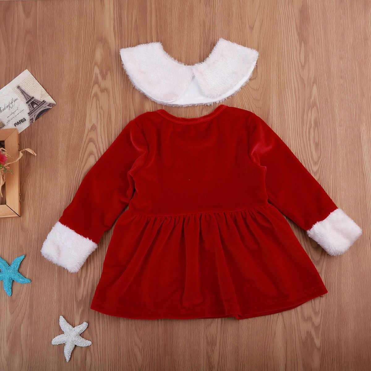 真新しい 2018 クリスマス幼児幼児子供キッズベビーのドレス長袖毛深い赤服クリスマス Stanta ドレス 0-4 t