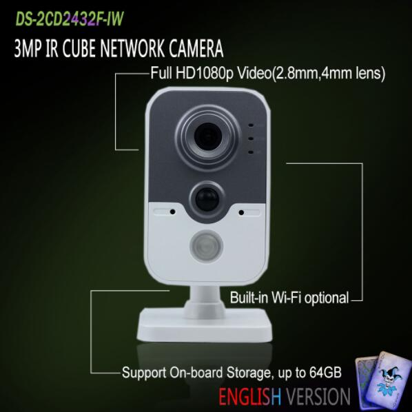 In Stock DS-2CD2432F-IW Original English Version IP housing 3MP IR Cube Network Camera Built-in Wi-Fi POE CCTV Came original english ds 2cd2432f iw hik 3mp ir cube ip network microphone wireless camera poe wi fi pir detection