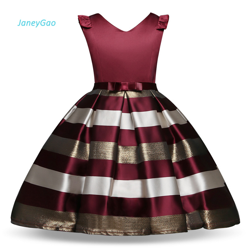 JaneyGao   Flower     Girl     Dress   For Wedding Party First Communion   Dress   Little   Girl   Prom Gown Kids Formal Wear Vneck Elegant 2019 New