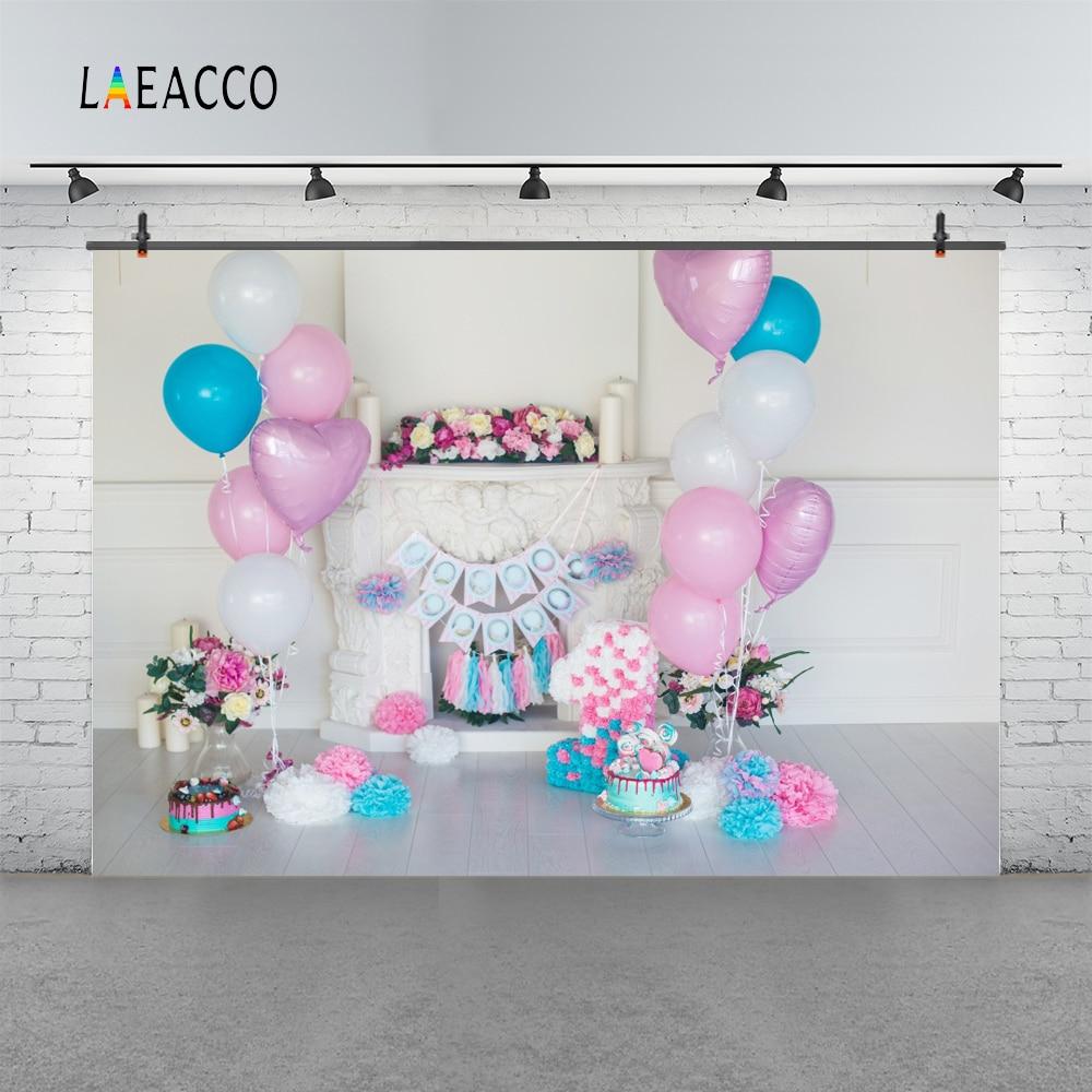 Laeacco růžové balónky Baby narozeninové krbové dorty květiny - Videokamery a fotoaparáty - Fotografie 3
