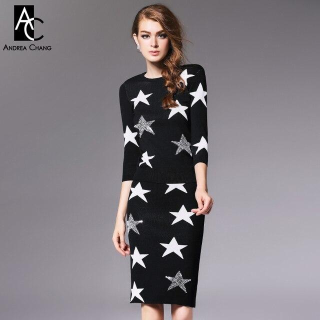 Осень зима взлетно-посадочной полосы дизайнер женской одежды набор черный синий вязаный свитер юбка костюм белый вышитый бисером звезда шаблон бренд комплект костюма