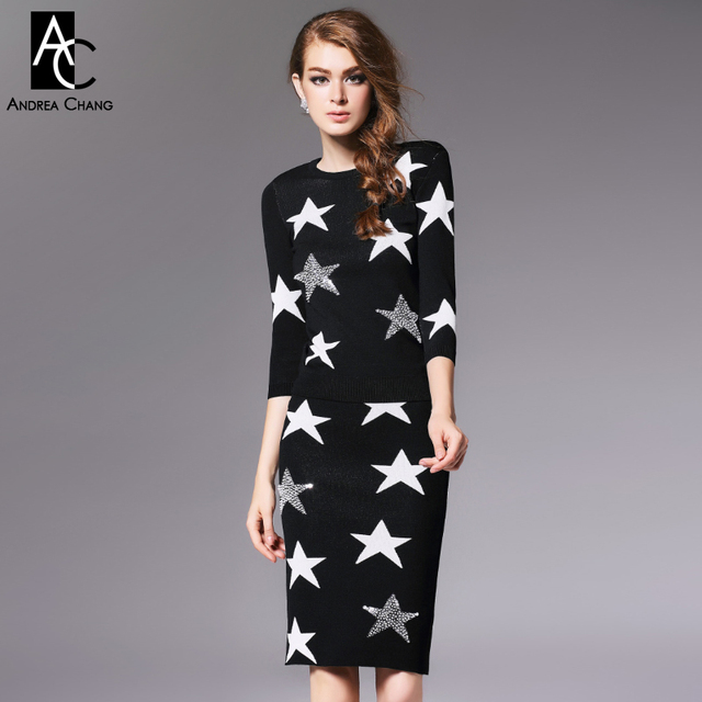 autumn winter runway designer womens clothing set black blue knitted sweater skirt suit white beaded star pattern brand suit set