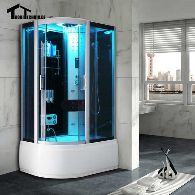 1200mm Shower Cabin Without Steam Shower Enclosure Cabin Cubicle Luxury  Glass Bath Room Black Right Hand