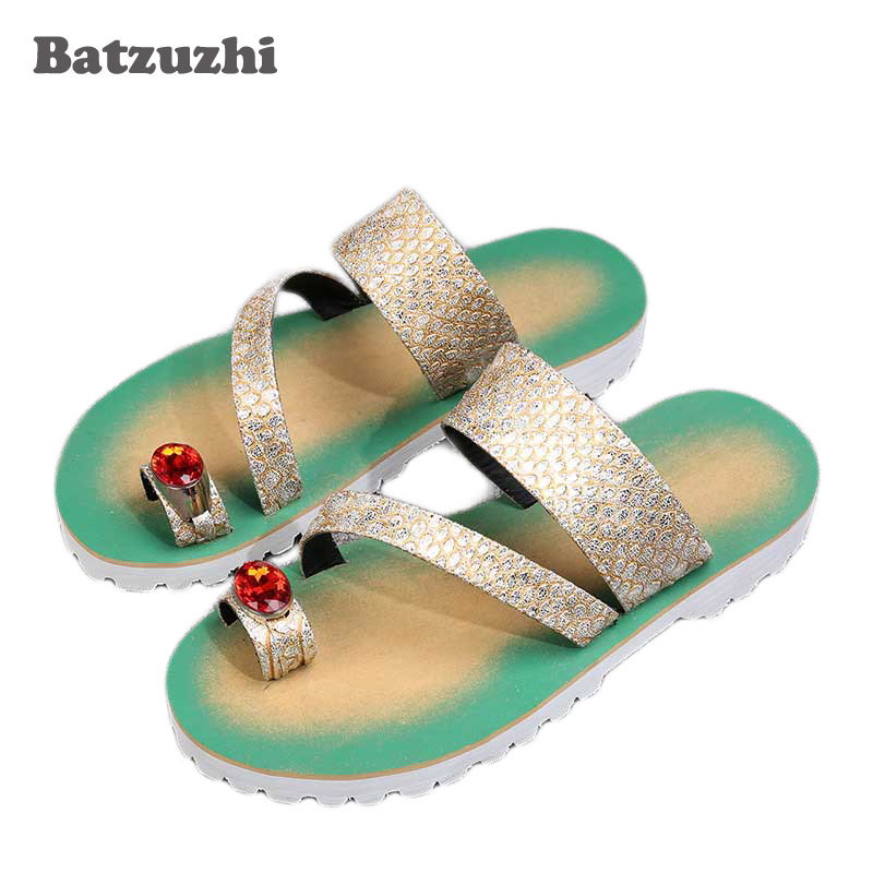 Batzuzhi Luxury Brand New Men Shoes Fashion Leather Slippers Flip Flops Open Toe with Big Crystal Flats Beach Sandal Shoes Men стоимость