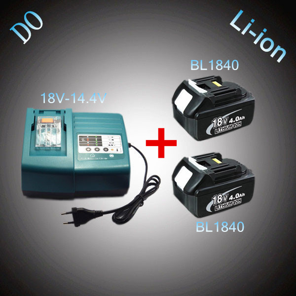2PCS New Rechargeable Lithium Ion 18V 4000mAh BL1840 with Power Tool Battery Charger Replacement for Makita DC18RC DC18RA 2 x panku 18v 4000mah crodless power tool lithium ion battery replacement for bosch bat609 bat618