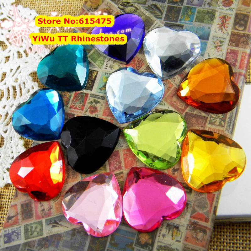 200pcs/Bag 20mm Heart Shape Flat Back Round Acrylic rhinestones,Acrylic Plastic 3D Nail Art / Garment Rhinestone 20 200
