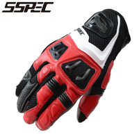 SSPEC HOT Guantes Fashion Glove Real Leather Full Finger Black Moto Men Motorcycle Gloves Motorcycle Protective