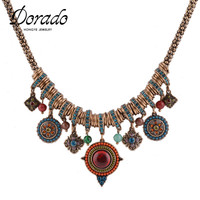 2015 Fashion Ethnic Jewelry Vintage Gold Bohemian Beads Flower Multi Layer Pendants Statement Necklace Dress Accessories