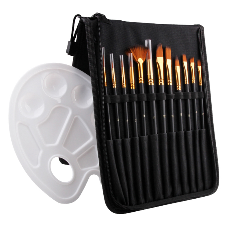 13Pcs Multi Head Nylon Hair Brushes With Portable Bag For Professional Art School Student Artist Stationary