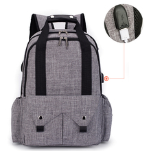 Large-capacity shoulder Mummy backpack waterproof diaper bag USB outdoor travel bag wet and dry separation urine bag trend leisu цены