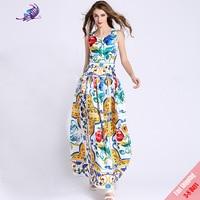 High Quality Runway Maxi Dress Women S Cute Blue And White Porcelain Sicily Print Sleeveless A
