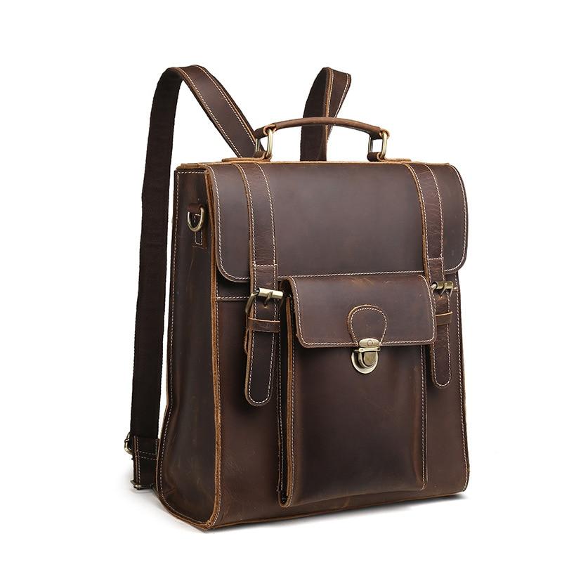 купить Backpack Bag Cow Leather Leather Backpack Retro Crazy Horse Leather Multifunction Men's Backpack по цене 5511.88 рублей