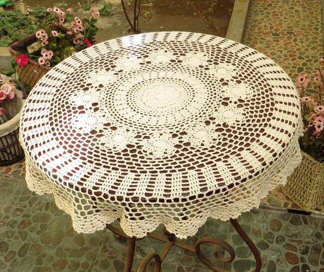 Luxury Lace Cotton Crochet Tablecloth Table Cloth Towel Mantel Round Flower  Handmade Table Cover De Nappe