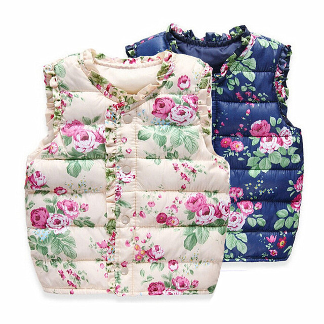 2016 Autumn Spring Children's Winter Jackets Kids Girls Vest Sweet Floral Down Cotton Warm Waistcoat Children Clothing 2 Color