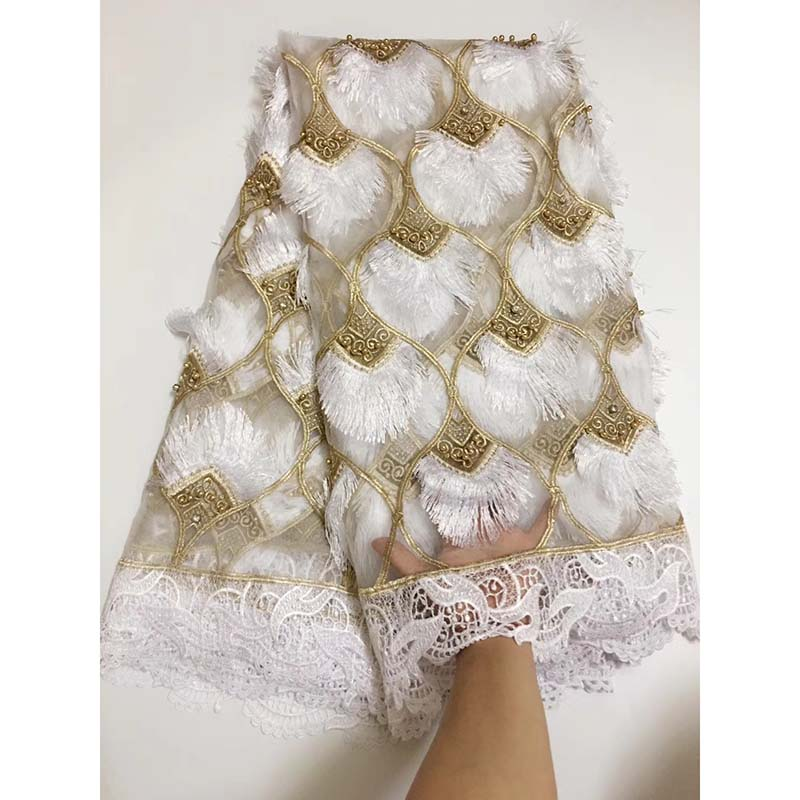 White Color Nigerian Lace fabrics 2018 African 3D Lace High Quality Beads French Tulle Lace Fabric