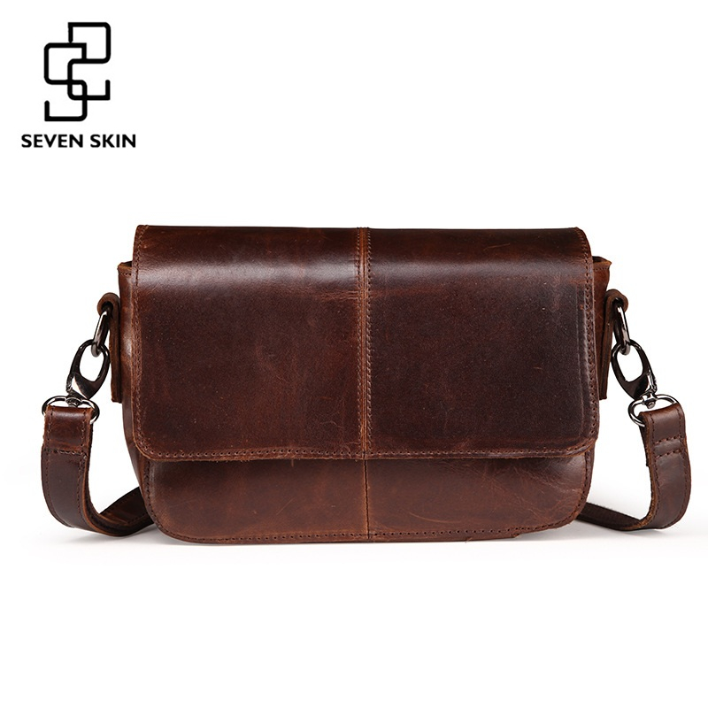 SEVEN SKIN Brand Genuine Leather Women Messenger Bag Female Small Mini Shoulder Bags Women's Retro Crossbody Bag 2017 New bolsos new style fashion genuine leather women bag retro cow leather small shoulder bags top grade all match mini women crossbody bag