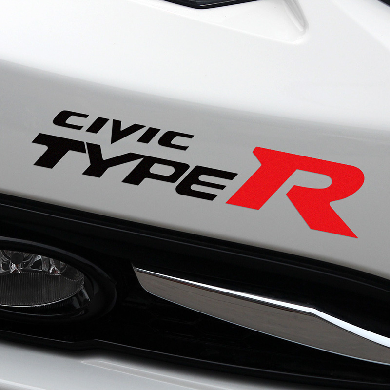 2 pieces customization type r car stickers decal car styling for honda civic car accessories