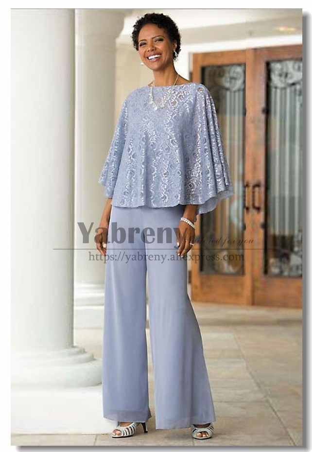 18ad047d69c Mother of the bride pant suits Blue lace Poncho outfit for Summer wedding