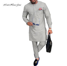 Traditional African Print Dashiki batik for Men Casual Shirts and Trousers Pant Sets Plus Size Clothing Set WYN809