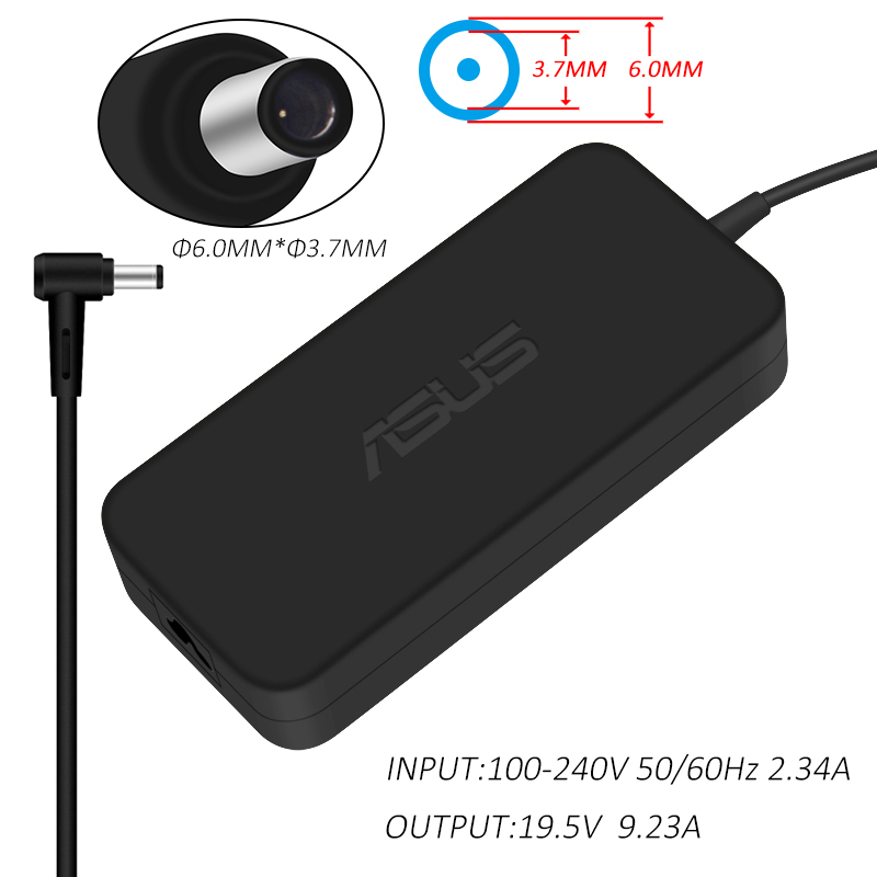 ASUS 19.5V 9.23A 180W 6.0*3.7mm AC Laptop Power Adapter Travel Charger For Asus FX86SM FX86F ROG GM501GM GX531GM GL504G