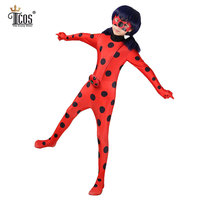 Miraculous Ladybug Girl Cosplay Costume Kids Marinette Cartoon Second Skin Turtleneck Unitard Halloween Party Tight Suit