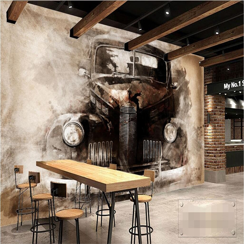 Beibehang Wallpaper Wall Murals Wall Stickers Ink European Style Nostalgic Retro Tattered Car Classic Car Backdrop Wall