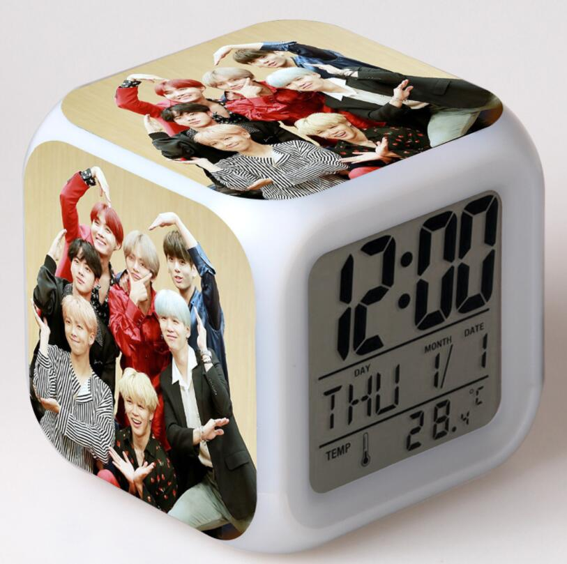 BTS Bangtan Boys Action Figures LED 7 Colors Change Touch Light Alarm Desk Watch Boys Girls Toys
