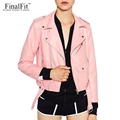 FinalFit Leather Jacket Women, Autumn&Winter PU Faux Leather Ladies Motorcycle Leather Jacket With Belt