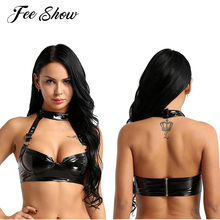 d82f9d786 Womens Lingerie Bra Sexy Fashion Wet Look PU Leather Bra Bralette Clubwear  Halter Neck Back Zippered