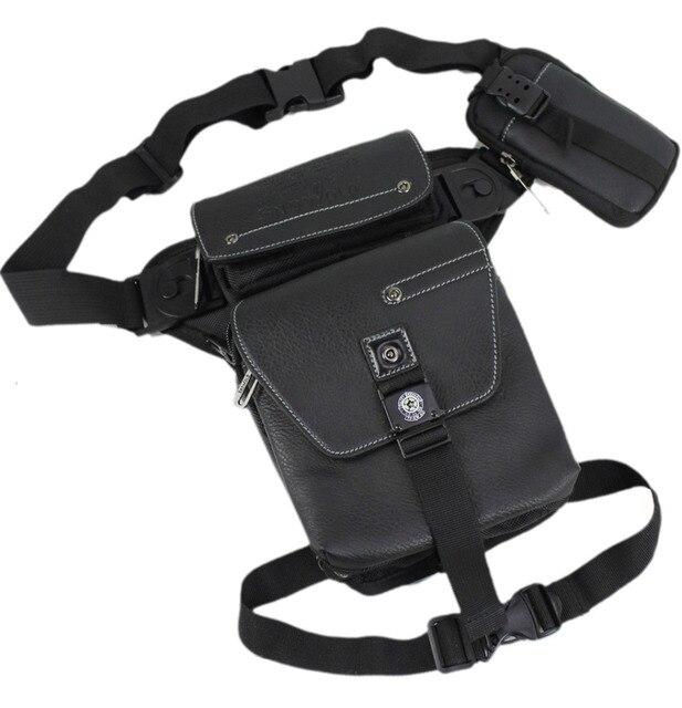 Waterproof Oxford PU Leather Belt Drop Leg Bag Men Travel Assault Military Ride Motorcycle Mobile Phone Bags Fanny Waist Pack