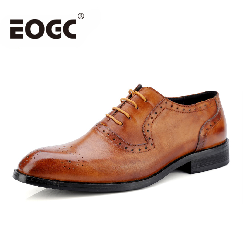 Genuine Leather Men Dress Shoes Size 47 Fashion Brogue men Formal Wedding shoes High Quality Business Oxford Shoes For Men shoes