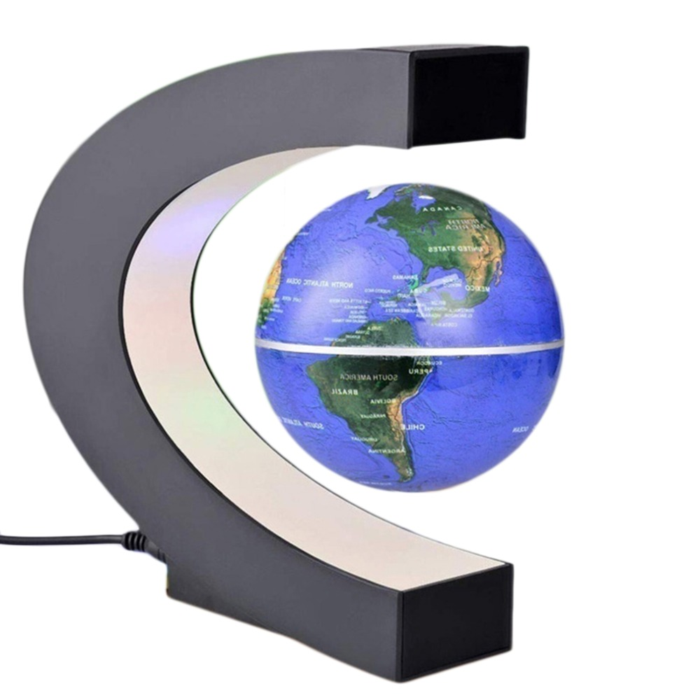 C shape black blue led world map decor home electronic magnetic c shape black blue led world map decor home electronic magnetic levitation floating globe antigravity led light gift decoration in figurines miniatures gumiabroncs Images